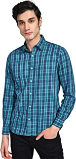 DJ&C By fbb Men's Checkered Slim fit Casual Shirt (1001854067_Green_L-SF)