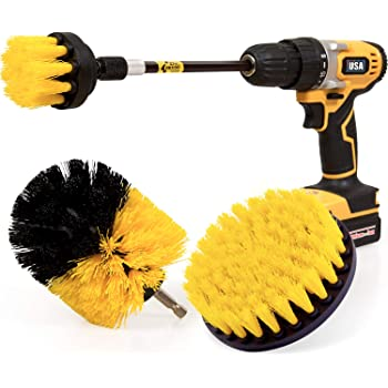 Holikme 4 Pack Drill Brush Power Scrubber Cleaning Brush Extended Long Attachment Set All Purpose Drill Scrub Brushes Kit for Grout, Floor, Tub, Shower, Tile, Bathroom and Kitchen Surface