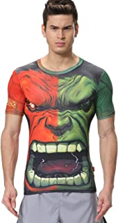 Red Plume Men's Compression Tights Fitness Tee,Big Mouth Giant Sports T-Shirt