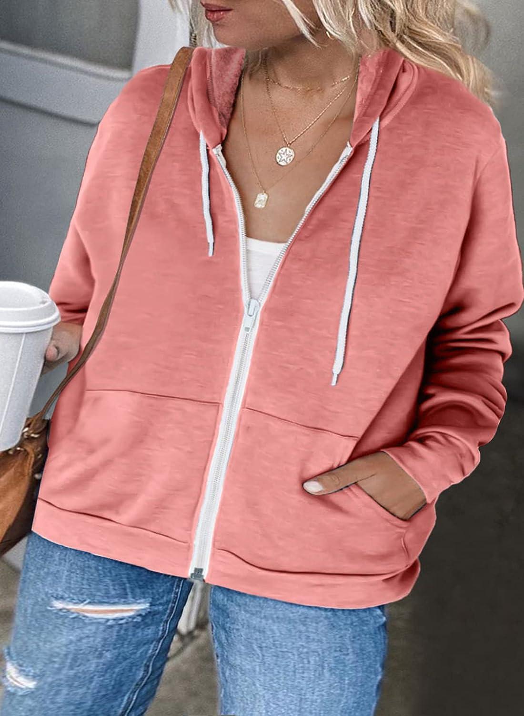 Sidefeel Womens Plus Size Casual Zipper Up Jackets Sweatshirt Drawstring Hooded Outwear