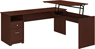 Bush Furniture Cabot 72W 3 Position L Shaped Sit to Stand Desk in Harvest Cherry