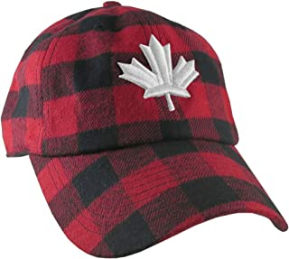 87b66290 Canadian White Maple Leaf 3D Puff Embroidery Red and Black Buffalo Check  Plaid Soft Structured Fashion
