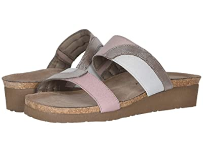 Naot Frankie (Silver Threads Leather/Ice Gray Elastic/Dusty Pink Elastic) Women