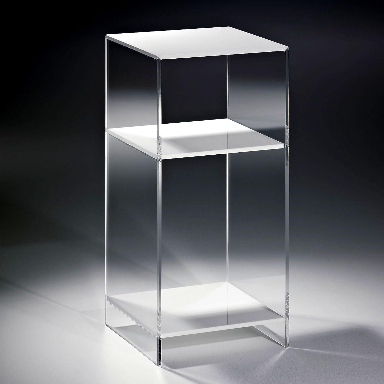 HOWE-Deko Hochwertiges Acryl-Glas Standregal, Konsole mit 2 Fchern, Regalbden wei, Seiten klar, 33 x 33 cm, H 73 cm, Acryl-Glas-Strke 10 mm