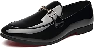 Men's New Embroidery Fashion Slip-on Loafers Patent Leather Shoes Tuxedo Dress Shoes