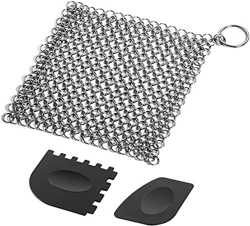 Cast Iron Cleaner with Durable Plastic Pan Grill Scrapers SENHAI 7 x7 inch Stainless Steel Chain Scrubber for Skillet...