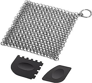 SENHAI Gietijzeren Reiniger met Duurzame Plastic Pan Grill Schrapers, 7 x7 inch RVS Scrubber voor Skillets, Griddles, Pann...