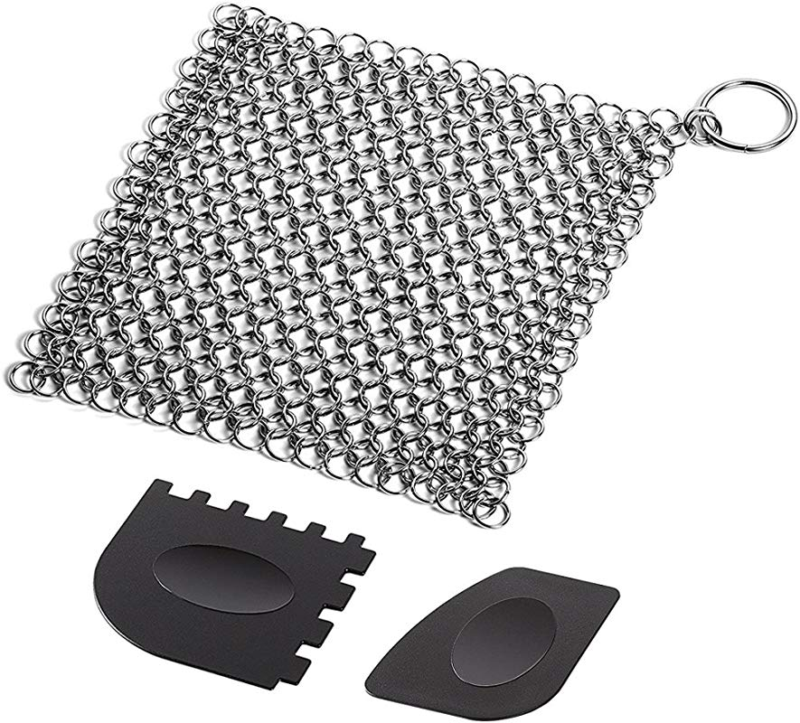 Cast Iron Cleaner With Durable Plastic Pan Grill Scrapers SENHAI 7 X7 Inch Stainless Steel Chainmail Scrubber For Skillets Griddles Pans Or Woks And More