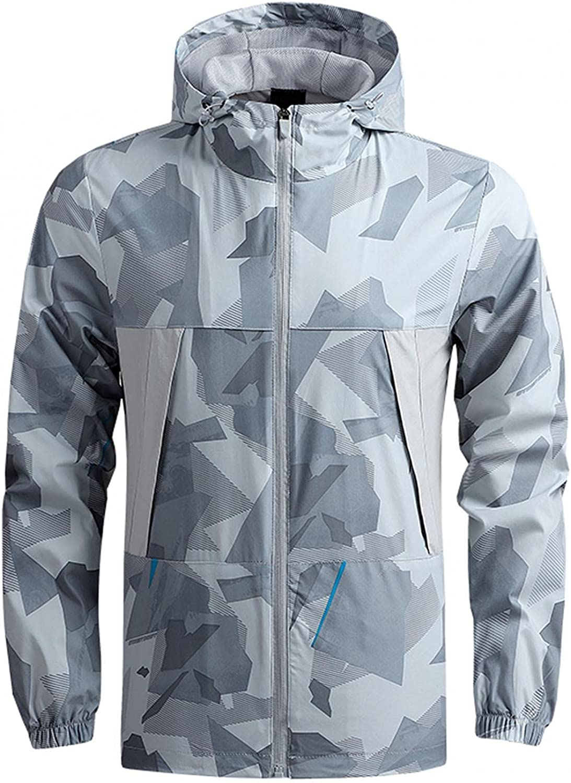 FUNEY Zip Up Jacket for Men Long Sleeve Lightweight Waterproof Hooded Sun Protection Hiking Running Fishing Shirts Jackets