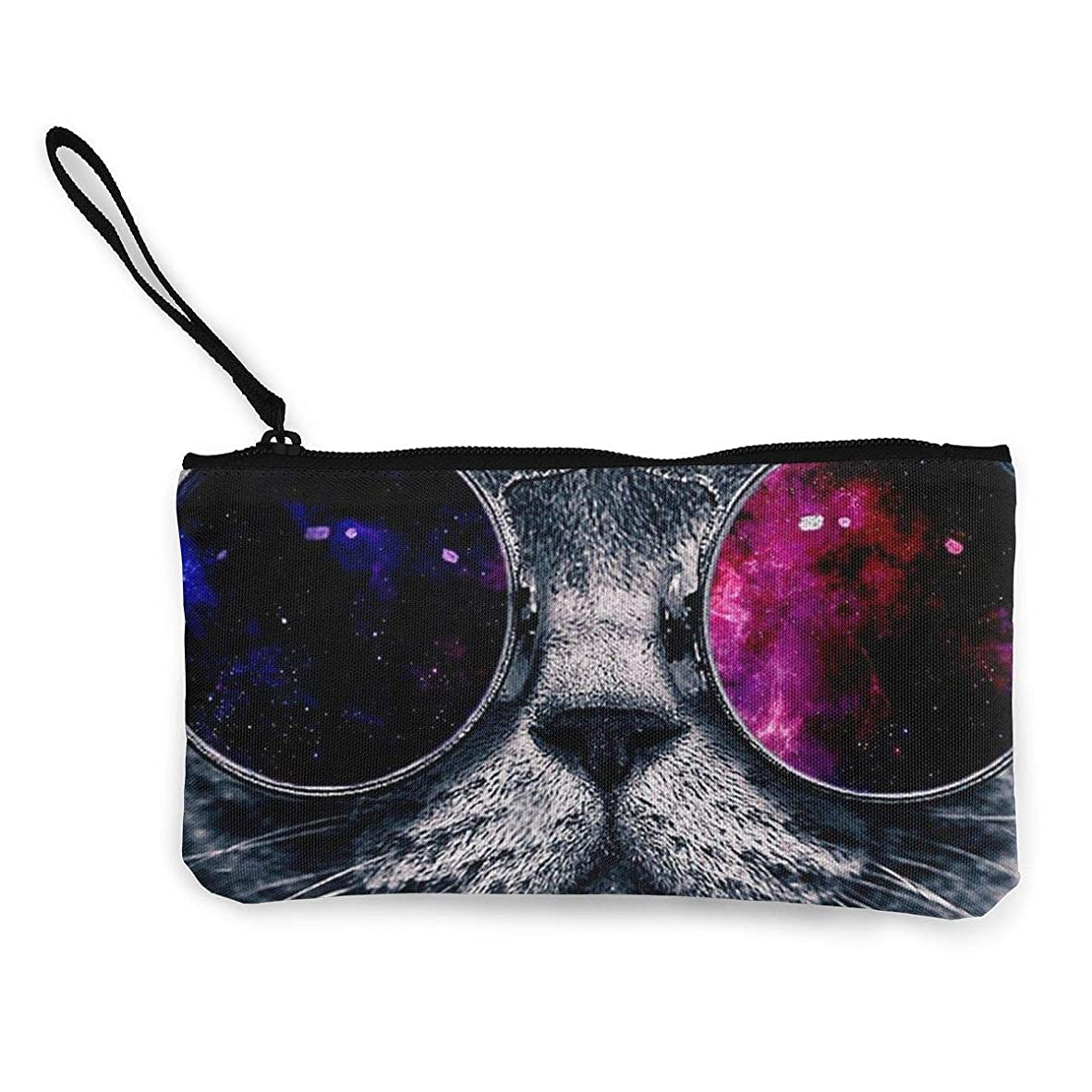 安全でないはさみ特権ErmiCo レディース 小銭入れ キャンバス財布 眼鏡を掛けた猫 小遣い財布 財布 鍵 小物 充電器 収納 長財布 ファスナー付き 22×12cm