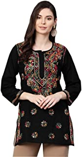 Ada Hand Embroidered Chikankari Indian Cotton Straight Top Tunic Blouse for Women A225311