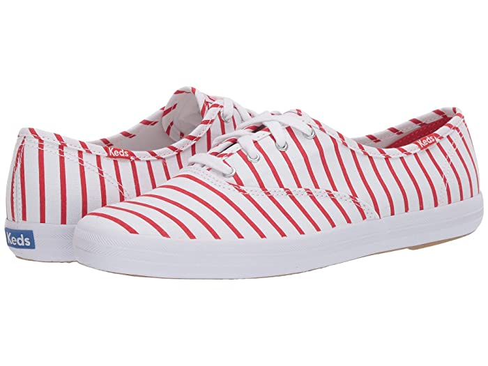 Vintage Sneakers, Retro Designs for Women Keds Champion Breton Stripe WhiteRed Womens Shoes $41.61 AT vintagedancer.com