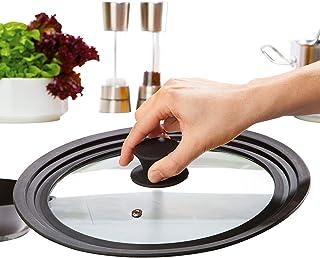 Culinario - Tapa Universal para cacerolas y sartenes de Cristal con Borde de Silicona. Disponible