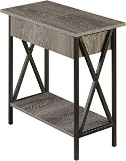 Convenience Concepts Tucson, Electric Flip Top Table, Weathered Gray