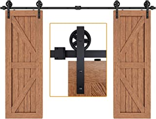 """EaseLife 10 FT Double Door Heavy Duty Big Wheel Sliding Barn Door Hardware Track Kit,Ultra Hard Sturdy,Slide Smoothly Quietly,Easy Install,Fit Double 30"""" Wide Door (10FT Track Double Door Kit)"""
