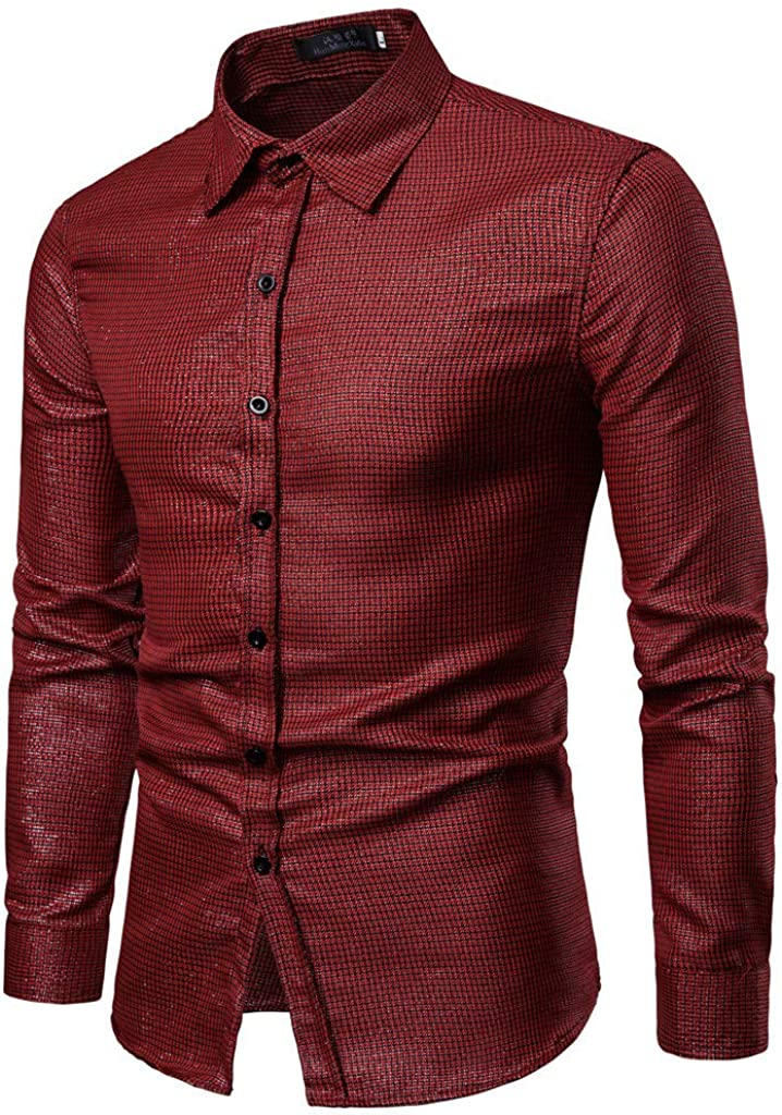 MODOQO Men's Long Sleeve Button Down Shirts Slim Fit Business Shirt for Office Wedding