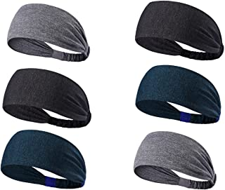 Tensky Outdoor 6Pack Workout Headbands for Women Mens Lightweight Sweatband Wide Hairband for Running Biking Fitness,Quick Dry