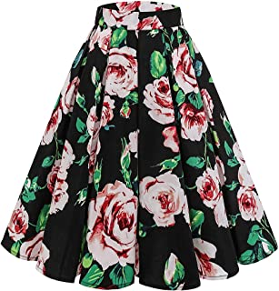5e254185d Bridesmay Women's Vintage Pleated Skirt Floral Printed A-line Swing Skirt  with Pockets