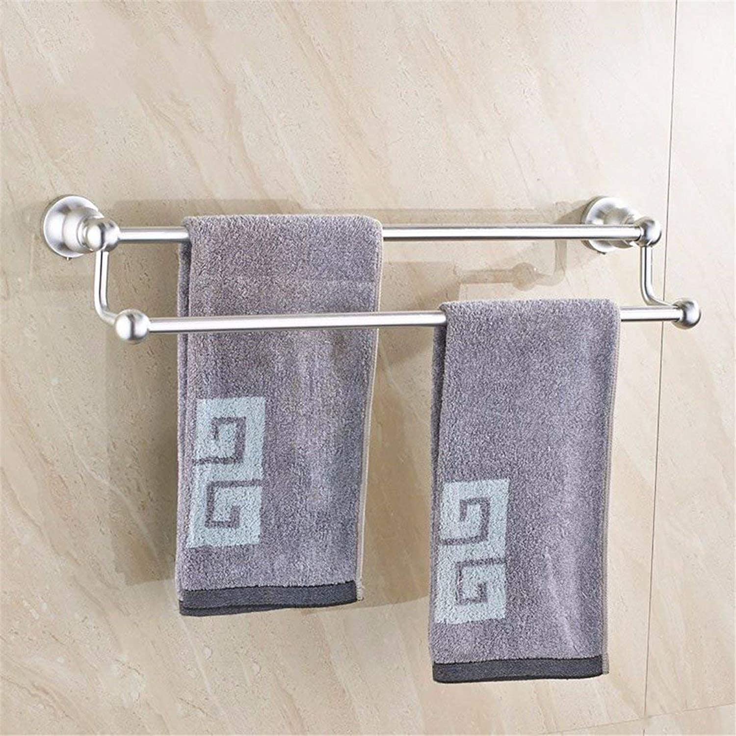 Accessories of Contemporary Bathroom in Silver Aluminum, Toilet Paper, soap Fort,Double Pole Rack