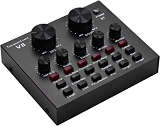 Kiboule Sound Card Mixer,External Audio Mixing Sound Card with Effects and Voice Changer,BT Live Sound Card Mixer for Live...