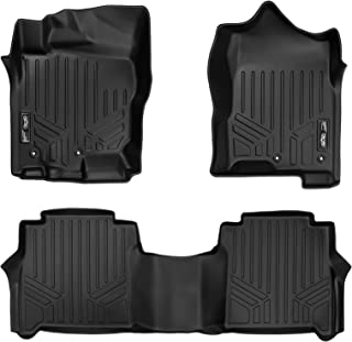 MAXLINER Floor Mats 2 Row Liner Set Black for 2017-2018 Nissan Titan Crew Cab / 2016-2018 Titan XD Crew Cab (with Underseat Tool Box)