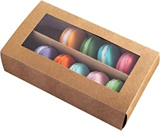 [15pcs]Brown Macarons Boxes of 12 Cavity,8inch Large Macaron Container Kraft Cardboard Packaging Bakery Box with Clear Window Lid also fits for Muffins and Cookie 8inch×5inch×2 inch,Pack of 15