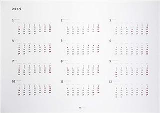 2019年 A3 ポスターカレンダー 月曜始まり 12ヶ月 シンプル&スタイリッシュデザイン