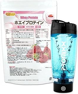 ホエイプロテインW80 ストロベリー風味 1kg+電動シェーカーPROMIXX ブラック 11種類のビタミン配合 [02] NICHIGA(ニチガ)