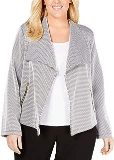 Womens Plus Jacquard Flyaway Jacket B/W 3X Black/White