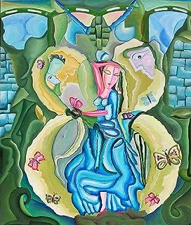 """Pintura Original Lienzo al Óleo Arte Abstracto Moderno """"REINA DE LA MARIPOSA"""" por DOBOS, Cuadro para Decoración del Hogar,..."""