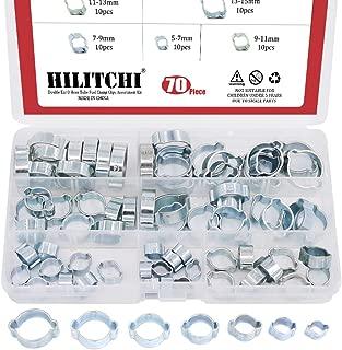 Hilitchi 70-Pcs Zinc Plated Double Ear O Clips Hose Tube Fuel Clamp Assortment Kit - 7-Size