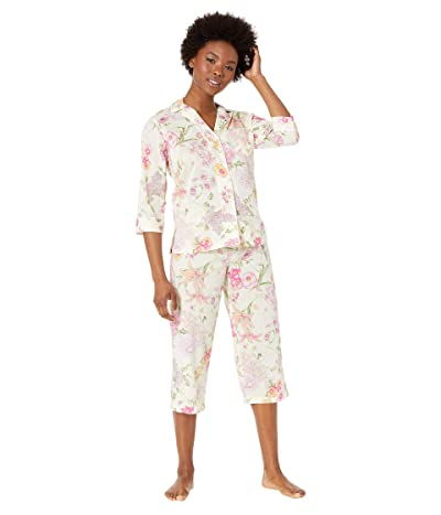 LAUREN Ralph Lauren Petite 3/4 Sleeve Pointed Notch Collar Capri Pants Pajama Set (Multi Floral) Women