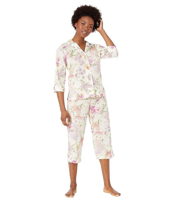 LAUREN Ralph Lauren Petite 3/4 Sleeve Pointed Notch Collar Capri Pants Pajama Set (Multi Floral) Women