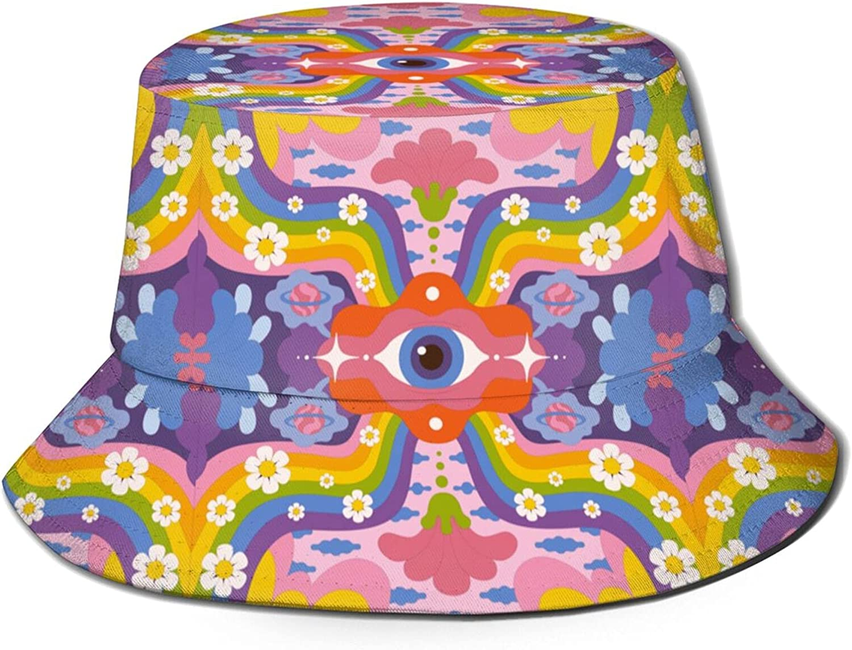Psychedelic Groovy Hand Drawn Background Bucket Hats Beautiful Summer Travel Beach Sun Hat Black
