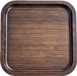 Crean トレイ トレー 木製 天然木製 お盆 四角 正方形 長角膳 舟型盆 食事トレー ランチトレイ カフェトレイ 小物入れ ブラウン 割れにくい おしゃれ (30cm*30cm*2cm)