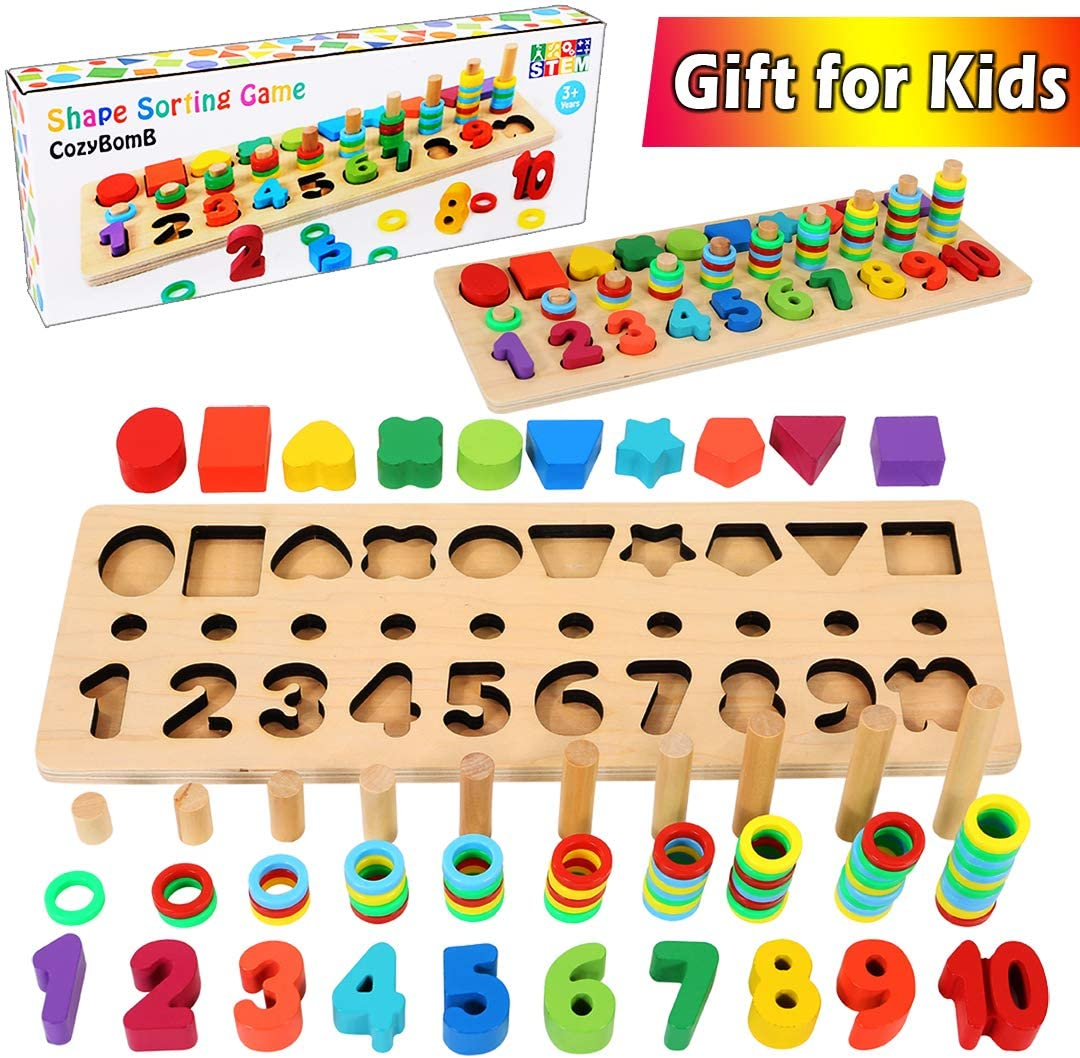 CozyBomB Wooden Number Puzzle Sorting Montessori Toys for Toddlers - Rainbow