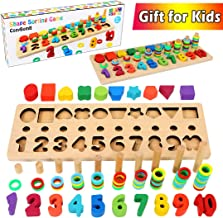 CozyBomb Wooden Number Puzzle Sorting Montessori Toys for Toddlers - Shape Sorter Game for age 2 3 4 5 year olds kids - Preschool Education Math Stacking Block - Learning Wood Toys Chunky Jigsaw Board