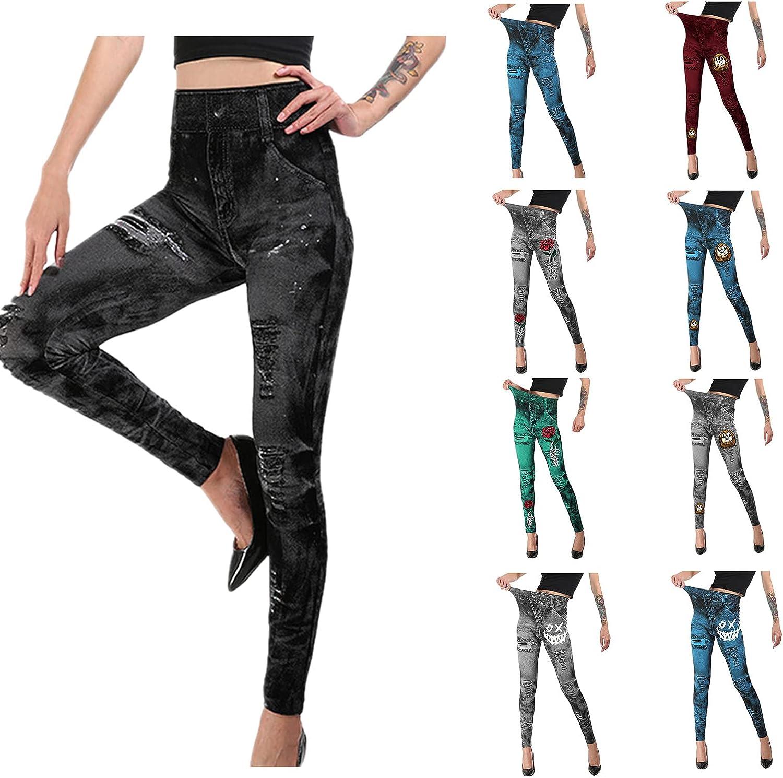 Women's Halloween Pants Printed Thin Mid-Waist High Stretch Cott