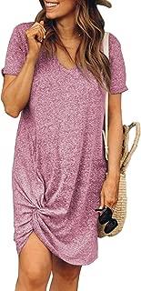 Womens Short Sleeve Tshirt Dresses Side Knot Mini Dress