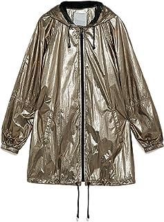 C&L フード付きジャケット薄手レインコート防水性と防風性女性の春/夏のスウェットシャツ、ルーズメタルストリートトレンドレインコート(ゴールド) (サイズ さいず : XXL)
