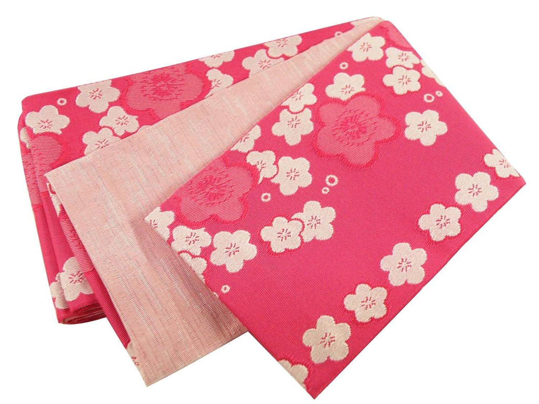 【さらさ】 織柄入り 袴下帯 半幅帯 小袋帯 日本製 ピンク ho-3-E