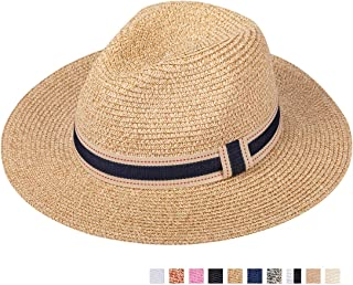 Maylisacc Straw Panama-Hat Sun-Hats for Women and Men Summer Travel Roll Up Beach Fedora UPF50+