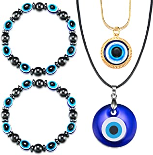 Hicarer 4 Pieces Evil Eye Pendant Necklace Glass Faux Leather Rope Chain Turkish Protect Lucky Necklace with Evil Eye Brac...