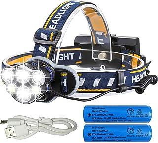 LEDヘッドライト 12000ルーメン USB充電式 軽量 防水 8点灯モード 作業灯 防災 登山 釣り ランニング 夜釣り PSE認証済み 18650型バッテリー 付属