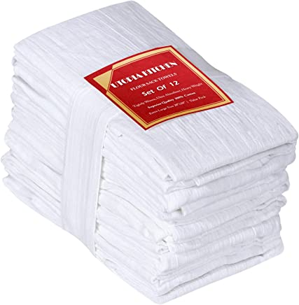 Utopia Kitchen 12 Pack Flour Sack Dish Towels - 100% Pure Ring Spun Cotton Kitchen Towels