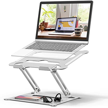 Adjustable Laptop Stand, FYSMY Ergonomic Portable Computer Stand with Heat-Vent to Elevate Laptop, 13 Lbs Heavy Duty Laptop Holder Compatible with MacBook, Air, Pro All Laptops(Silver) (Silver)