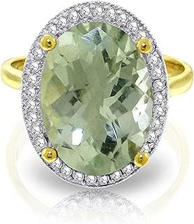 ALARRI 5.28 Carat 14K Solid Gold Paradise Found Green Amethyst Diamond Ring