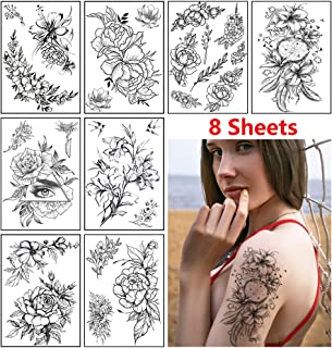 Rose Flower Temporary Tattoo Stickers for Women Adults Sexy Black Floral Tattoo Large Realistic Fake Tattoo Waterproof Temp Tattoo Paper Arm Leg Back Shoulder Body Art Tattoo Stickers (8 Sheets)