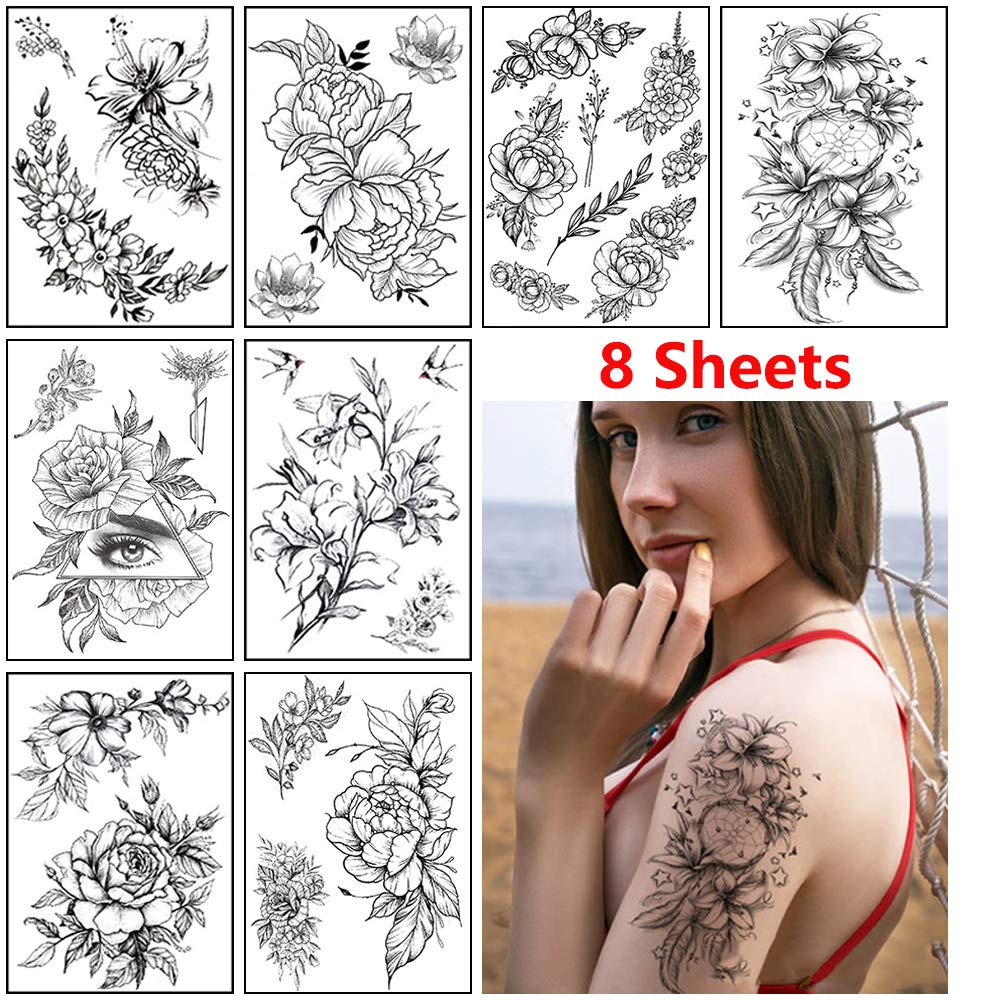 Rose Flower Temporary Tattoo Stickers favorite Sexy for Austin Mall Women Blac Adults