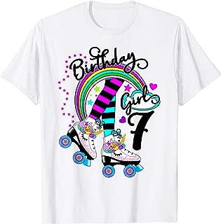 7th Unicorn Roller Skate Birthday Party for Girls Shirt